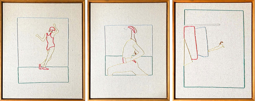 Lawn- Tennis: Diptych hand Stitched Canvas, Framed on Cherrywood, 2018
