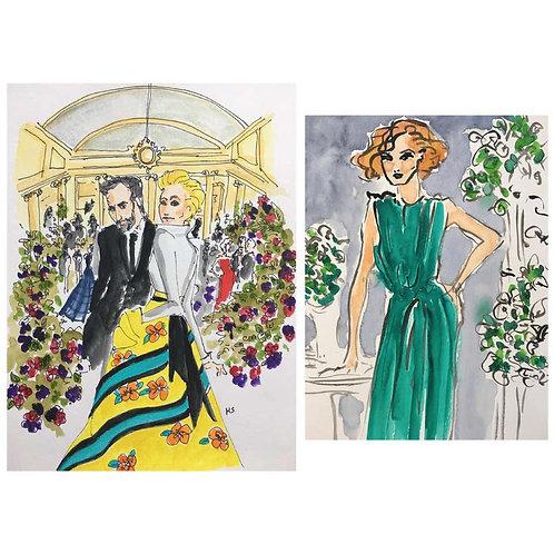 Carolina and Nicolas an the Frick, and Green Dress, Set, 2018