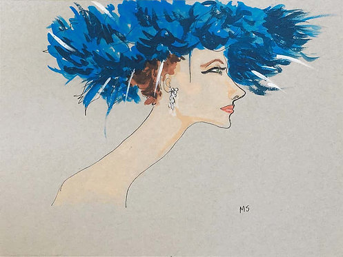 Suzy Parker in a blue hat, 2018