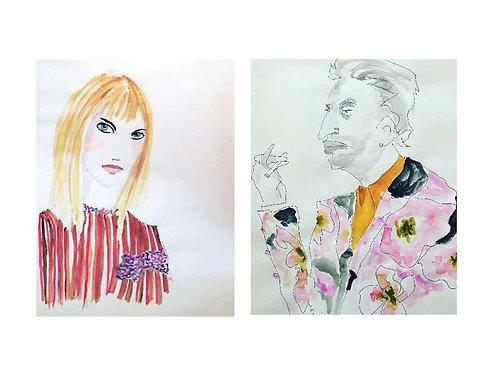 Jane Birkin and Serge Gainsbourg in Dries van Noten (Diptych), 2016