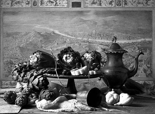 Alcachofas con jarra III. Black & White. From the bodegon series 2015