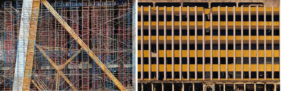 Scaffolding, and Miami Herald, Aerial Photograph Set,2014