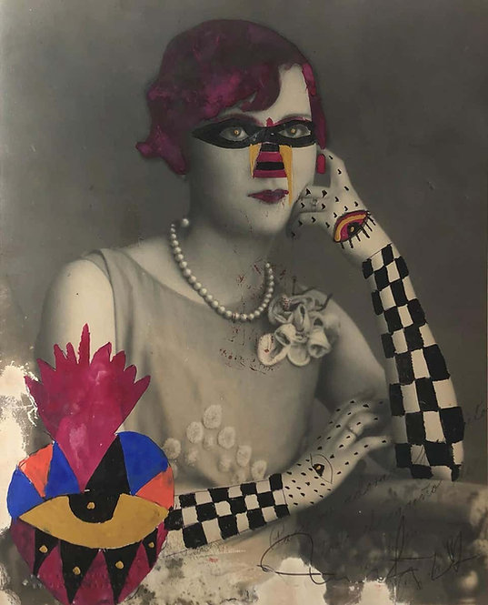 Checker Arm Lady (Framed), 2019