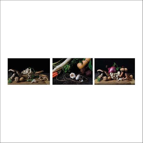 Champiñones, Bodegón con verduras II and Cebollas con champiñones. Triptych
