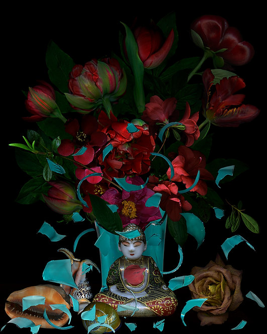 """Red Flowers and Buddha. From the series """"Broken Celebrity"""", 2017 Zoltan Gerliczki"""