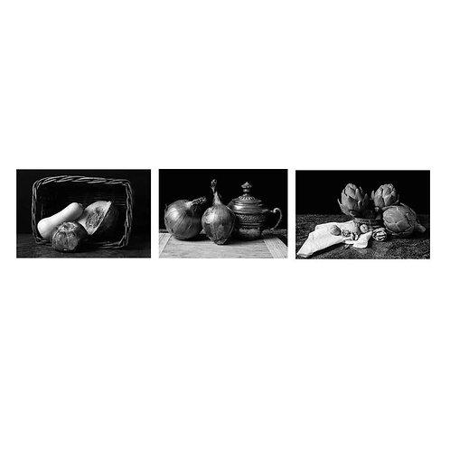 Alcachofas, Cebollas and Pumpkin. (B&W) Triptych. 2015 Dora Franco