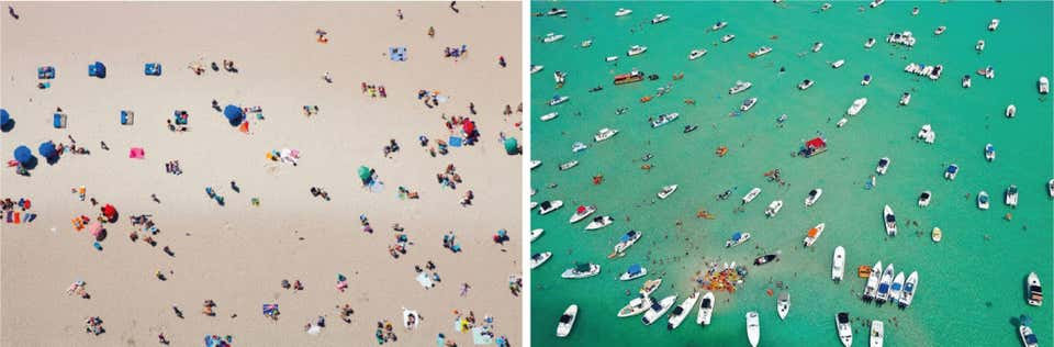 Beach II, and Sandbar Aerial Photograph Set, 2015
