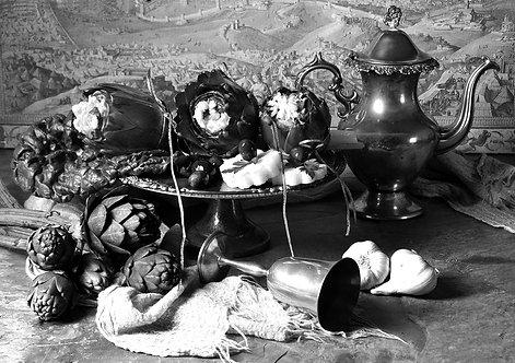 Alcachofas con jarra II. Black & White. From the bodegon series, 2015 Dora Franco