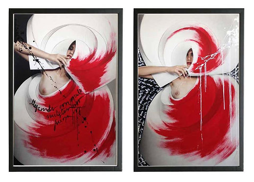 Color Origami Spiral I and II (Diptych), 2010