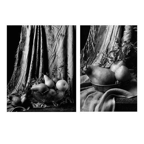 Peras con cortina marroquí II & III. Diptych. (B&W) 2015