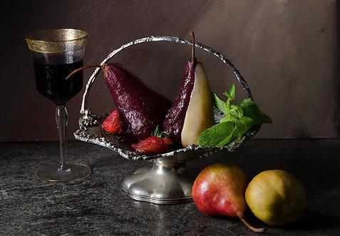 Peras en almíbar de vino rojo III. From the bodegon series, 2015 Dora Franco