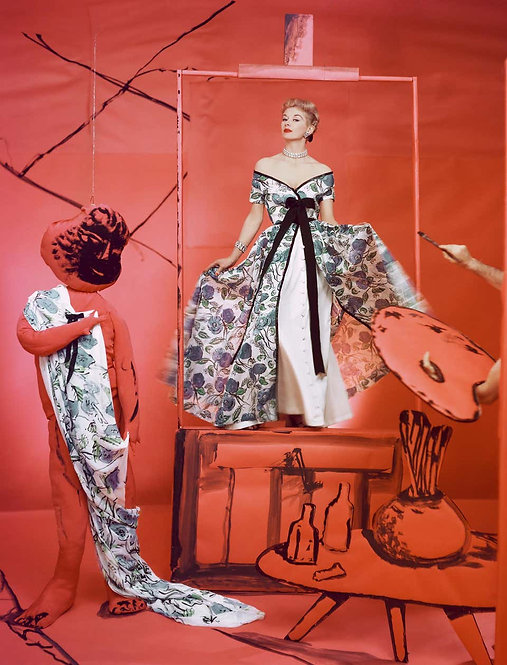 Lisa Fonssagrives, Dress by Pierre Balmain, Background by Marcel Vertes, 1953