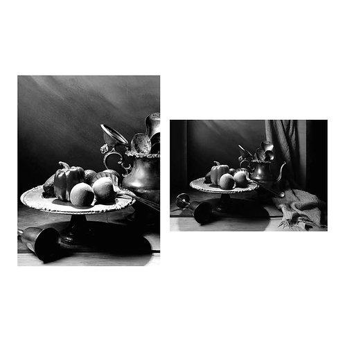 Bodegón con pimentón I & II. Diptych. (B&W) 2015