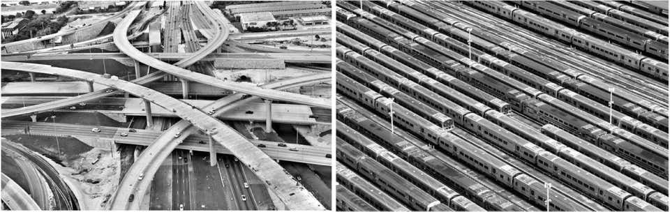 """""""Crossroads"""", and """"Subway Cars""""_Aerial Photograph Set_2015_Jill Peters"""