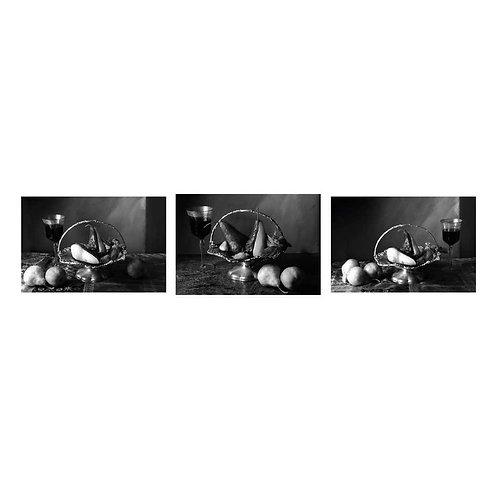 Peras en almíbar de vino rojo I, II & III. (B&W)Triptych. 2015