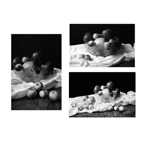 Apples I, II & III. Triptych. (B&W) 2015