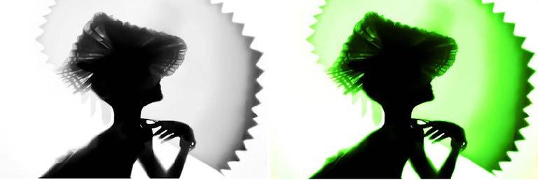 Back Lighting, Black Green, Diptych