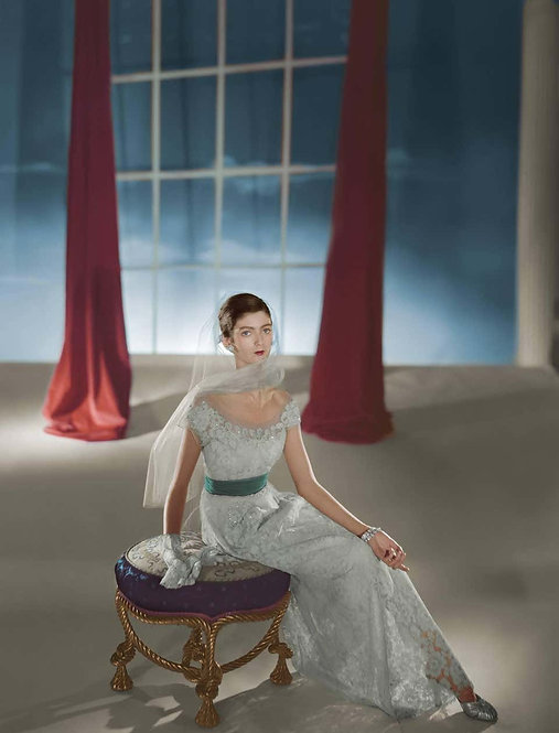 Fashion in Colour - Carmen Dell'Orefice, Dress by HattieCarnegie (Framed), 1947