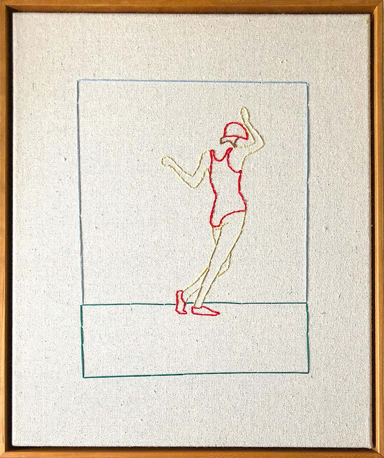 Swing, Hand Stitched Canvas, Cherry Wood Frame, 2018