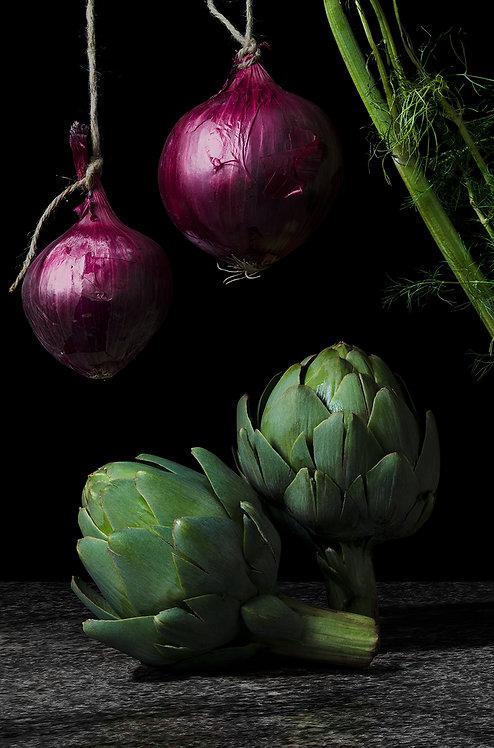 Cebollas con alcachofas. From the bodegon series, 2015