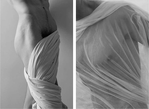 Man in Tunic, and Untitled II, 2017 - 2018 (B&W) Ricky Cohete