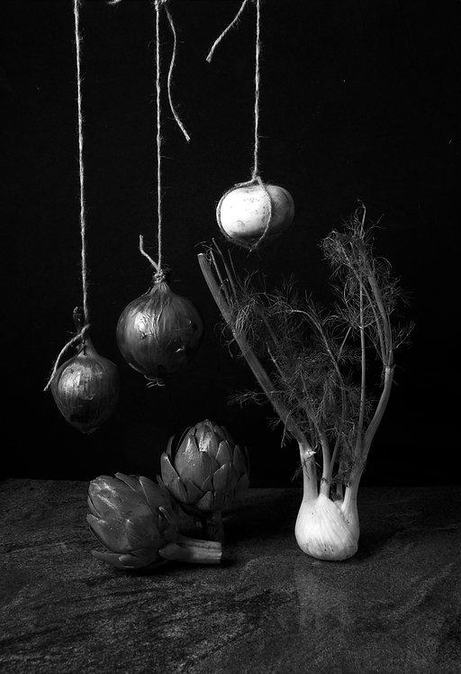 Cebollas con alcachofas II. Black & White, 2015