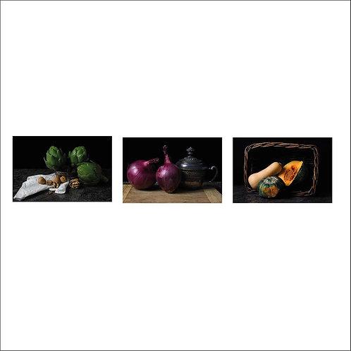 Alcachofas, Cebollas and Pumpkin. Triptych. 2015