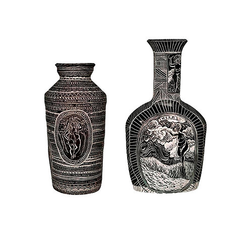 Set of Two Hand Built and Carved Porcelain Vases - Alex Hodge