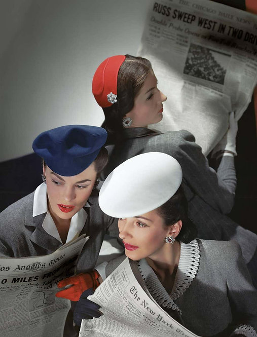 Hats by Best, Lord and Taylor and Mme Pauline, Gloves by Dawnelle, 1943 (Small)