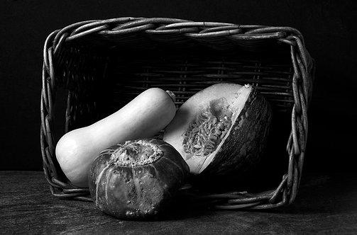 Pumpkins. Black & White. From the bodegon series, 2015 Dora Franco