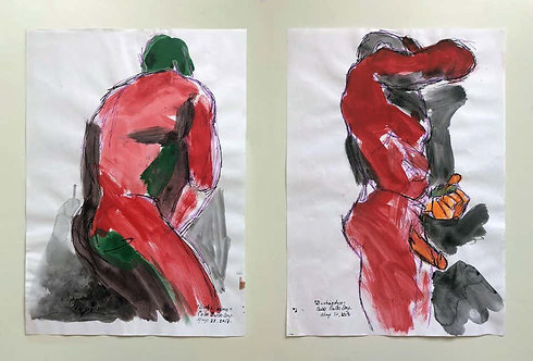 """""""Duchándome, May 22nd"""" and """"Duchándome, May 27th""""_Watercolor Diptych_2018_Celso Castro"""