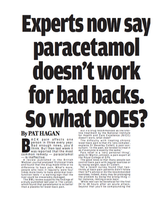Experts now say paracetamol doesn't work for bad backs. So what DOES?