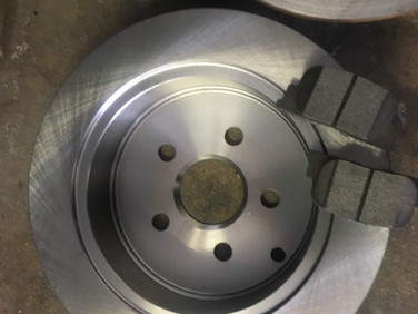 New rotors and pads replaced worn parts.