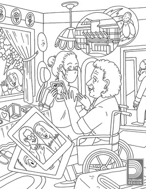 This illustration is part of a series of colouring pages created for Durham Region.