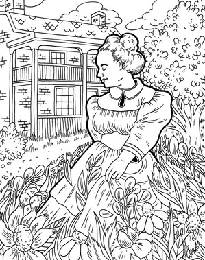 This is a colouring page created for the Oshawa Museum.