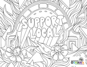 This illustration is part of a series of colouring pages created for Oshawa BIA.