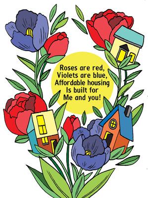 "2021 Valentine card for Durham Housing fundraising effort. A collaboration with writer Bridget ""Bee"" Noonan @beezleybublovescats"