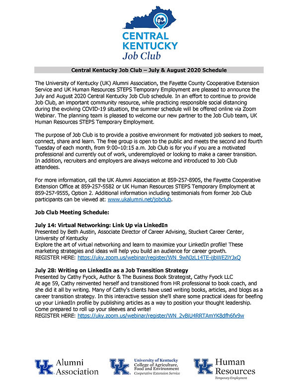 Central Kentucky Job Club - July & Augus