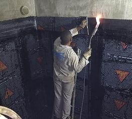 impermeabilização com manta colada com asfalto em caixa d' água