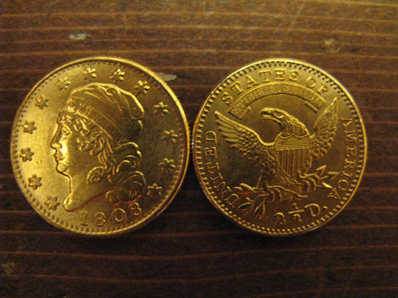 1808 Liberty Bust 2 1/2 Dollar Gold Piece (Plated)