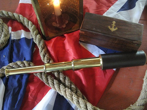 Medium Brass Spyglass with Wood Box