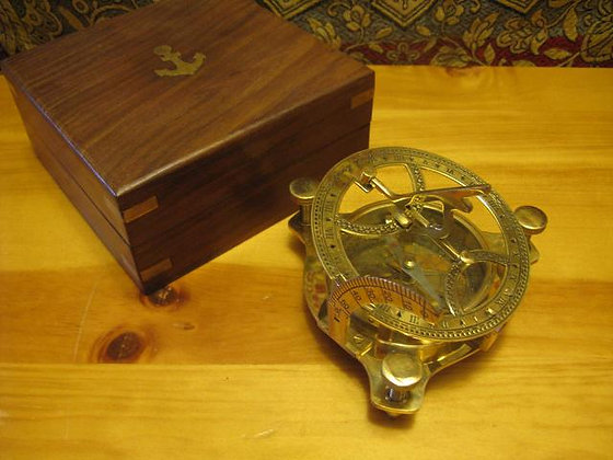 Large Sundial Compass with Wood Box