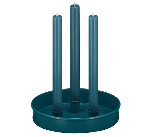 Small Round Candle Platter, Petrol Blue