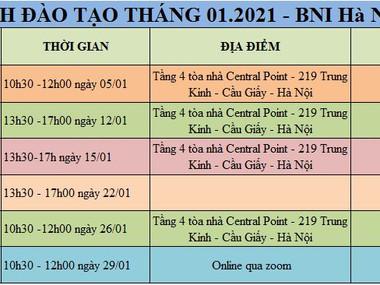 Lịch đào tạo tháng 1.2021 - BNI Hà Nội 2