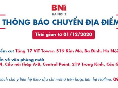 Thông báo chuyển địa điểm văn phòng BNI Hà Nội 2