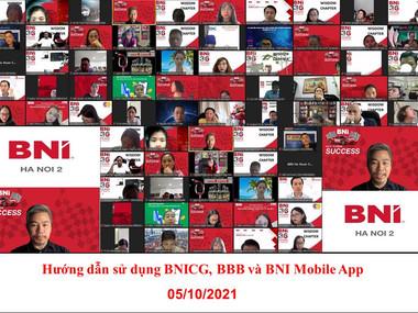 Chương trình Hướng dẫn sử dụng BNICG, BNI Business Builder, BNI Mobile App ngày 05.10.2021