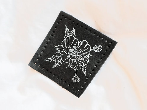 Floral Peony Leather Patch