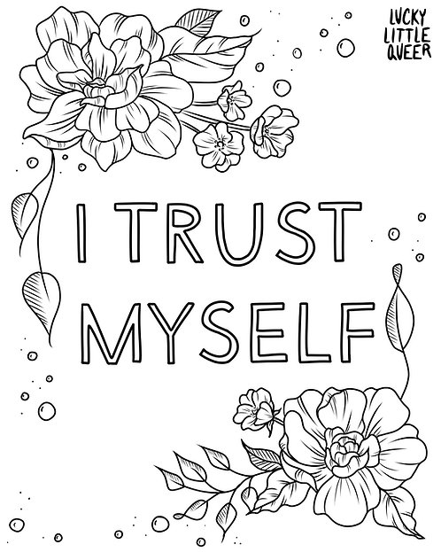 Print-at-Home Colouring Sheet - I Trust Myself