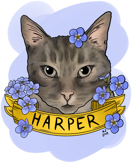 Lucky Little Queer: freelance artist's digital pet portrait commission