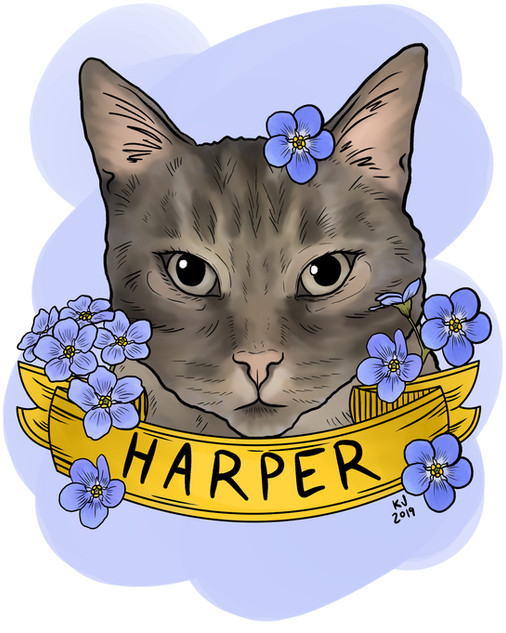 Lucky Little Queer: freelance artist's digital pet portrait commission